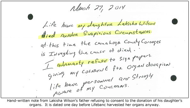 Lakisha Wilson fathers-donation-refusal-highlighted2